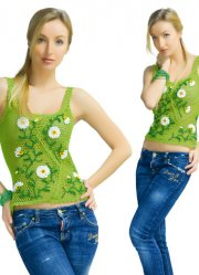 Lime crocheted exclusive elegant top with the decor ofdaisy flowers