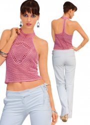 Lined top crocheted exclusive elegant pink
