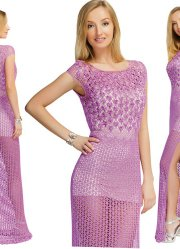 Lilac crocheted openwork dress. The bodice is decorated with beads