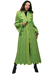 Light green coat crocheted in zigzag embossed pattern