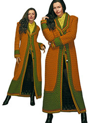 Brown and green coat crocheted  embossed pattern